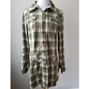 NWOT Nick and Mo Green Plaid Tunic Shirt Dress M